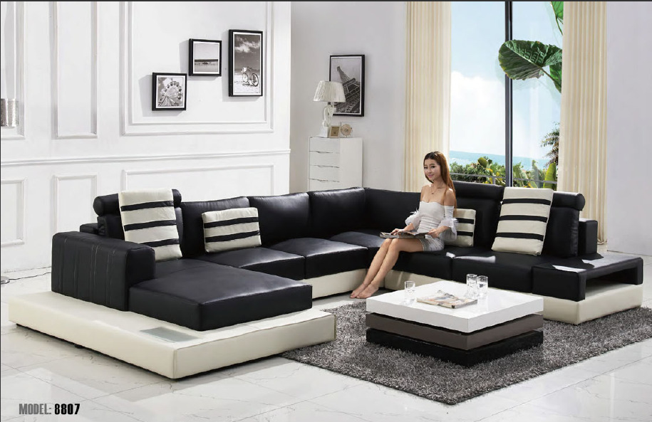 Buy 2015 modern u shape leather sofa for Modern sofa set designs for living room