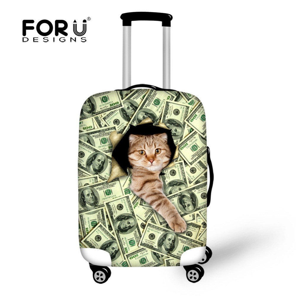Funny Dollars Cat Print Luggage Cover Waterproof Protect 18 20 22 24 26 28 30 Inch Wheeled Suitcase Stretch Fabric Elastic Cover