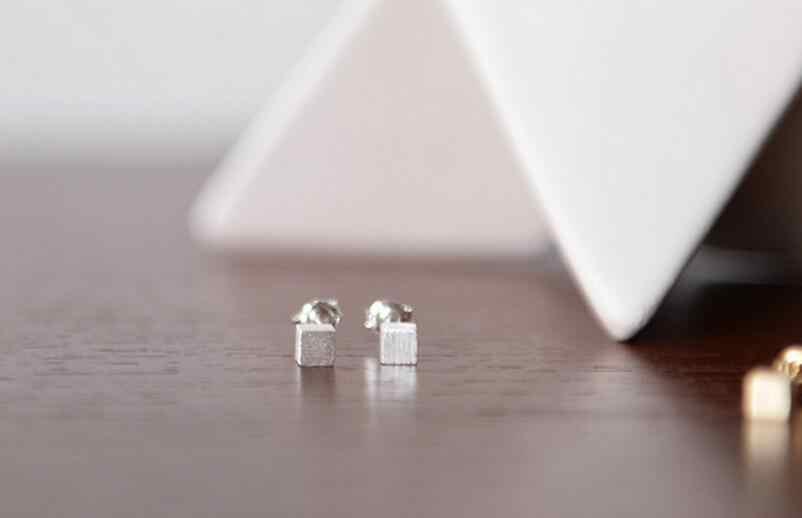 Pendientes de plata de ley 925 caja Dimensional Simple para mujer joyería de plata de ley Boucle d'oreille VES6102