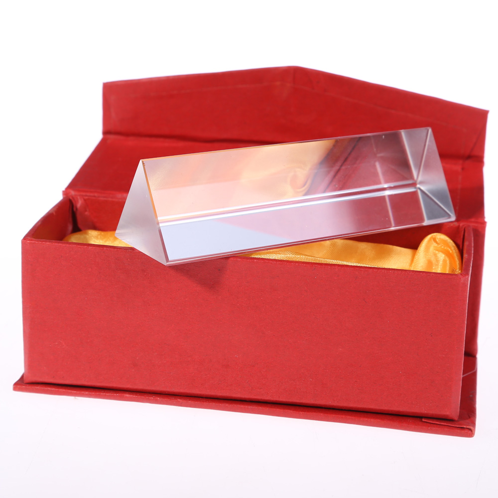 10cm Mini Optical Prism Glass Triangular Refractor For Physics Experiment Surveying Kids Gift Prisma Red Box Friends Gift