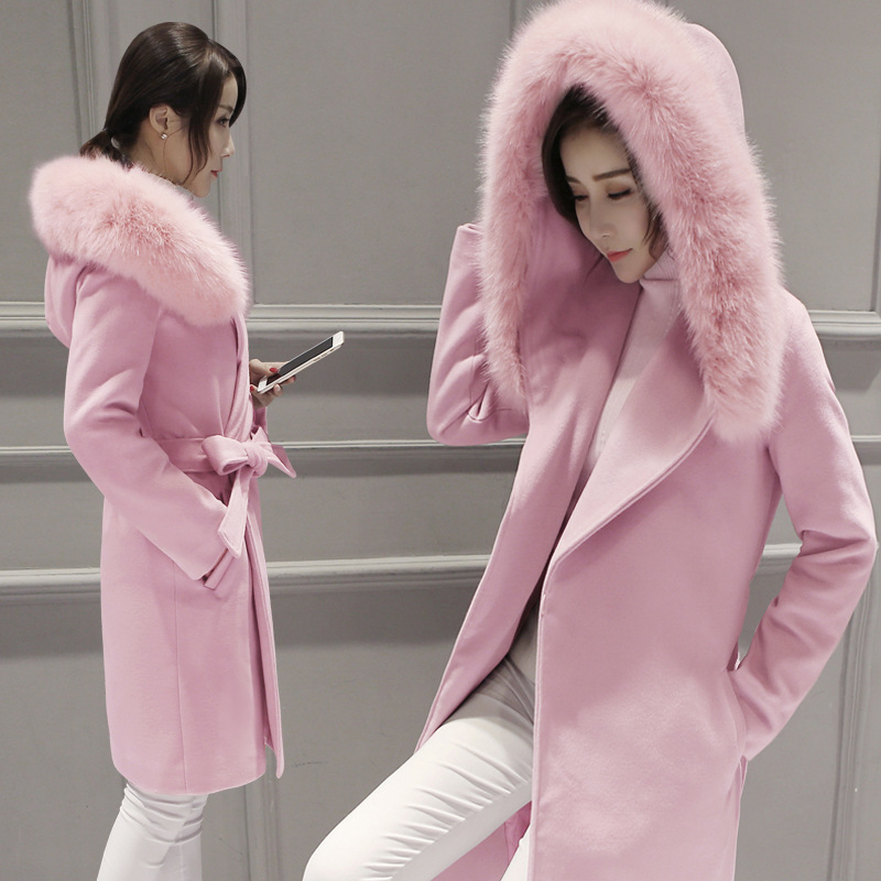 Winter woman in red long section of pink wool coat fur collar Slim large size high