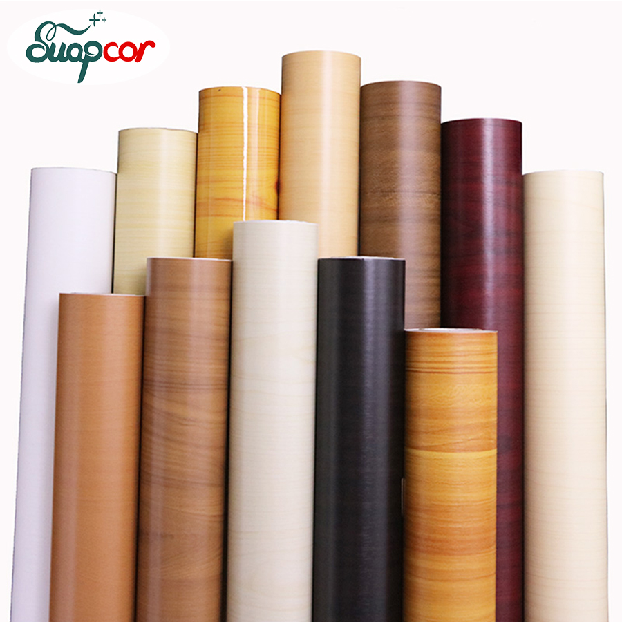 Wood Grain Wall paper Roll Furniture PVC Self adhesive Wallpaper Refurbished Bedroom Wardrobe Door Decorative Waterproof Sticker