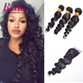 Peruvian Loose Wave Virgin Hair With Closure Loose Wave Virgin Hair 3 Bundles With Lace Closures Human Hair Bundles With closure