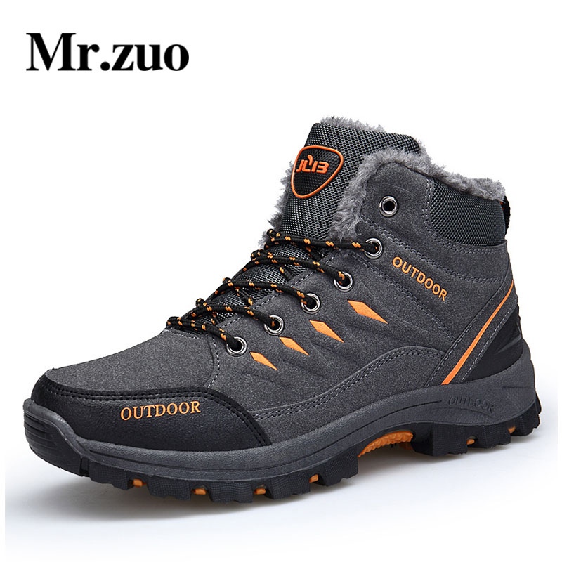 Brand Hiking Shoes Men 2017 Winter Sneakers PLUSH Climbing Shoes Waterproof Sport Outdoor Men's Trekking Snow shoes Large Sizes humtto new hiking shoes men outdoor mountain climbing trekking shoes fur strong grip rubber sole male sneakers plus size
