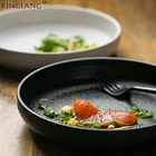 Matt ceramic European Western-style food deep dish soup fish round salad bowl black and white 2 colors slate finishing