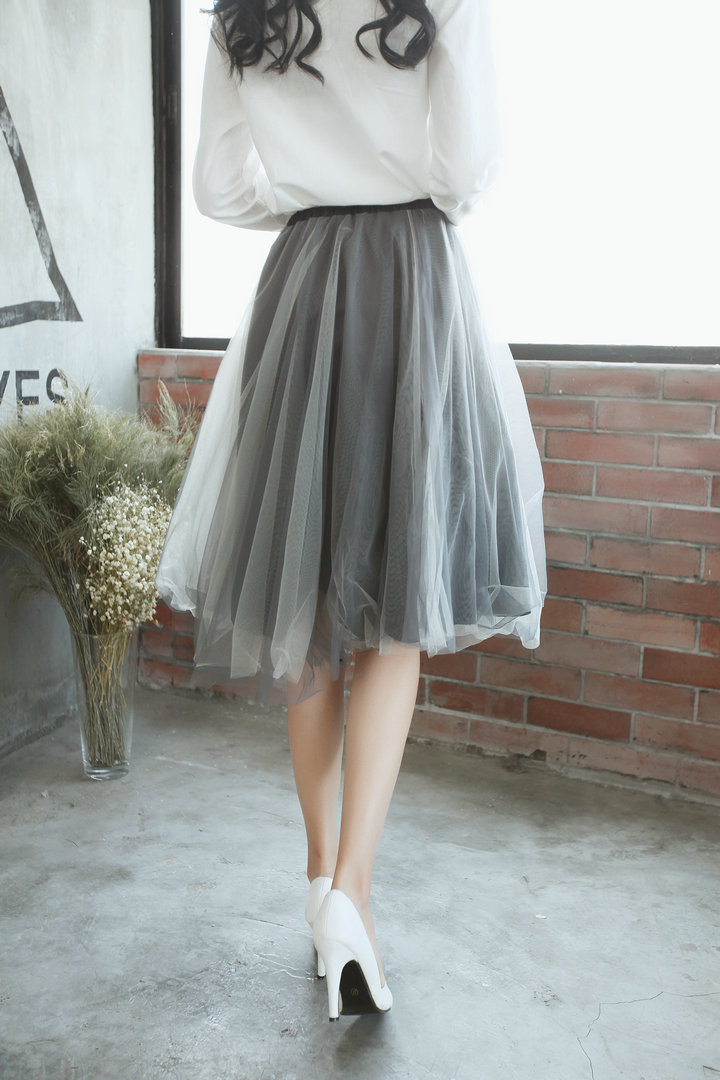 caed85d74 Classical Tulle Skirt Elastic Waist A Line Knee Length Skirt 3 Layers With  Lining Fashion Women Skirt Dark Gray xinziyiwu-in Skirts from Women's  Clothing on ...
