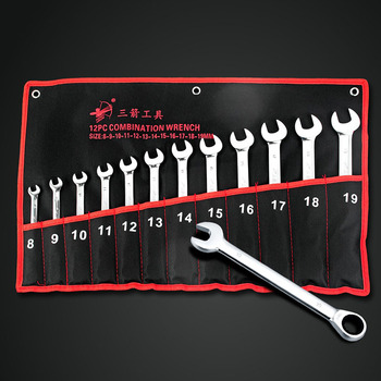 12pc 8-19mm CRV  Ratchet Wrench Geared Set of Keys Open End Combination Wrench Ratchet Set Hand Tool Spanner Kit set of spanner keys kraton bws 01