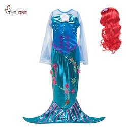 MUABABY Girls Princess Ariel Cosplay Costume Flare Sleeve Little Mermaid Dress up Fantasy Kids Photography Halloween Party Gown