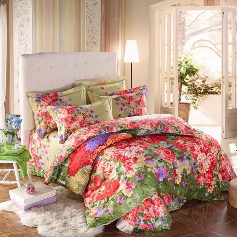 Colorful Flowered Bedding Sets Queen U0026 King Size High Quality Cotton Fabric  Floral Printed Bed Sheets Pillowcase Duvet Cover Set In Bedding Sets From  Home ...
