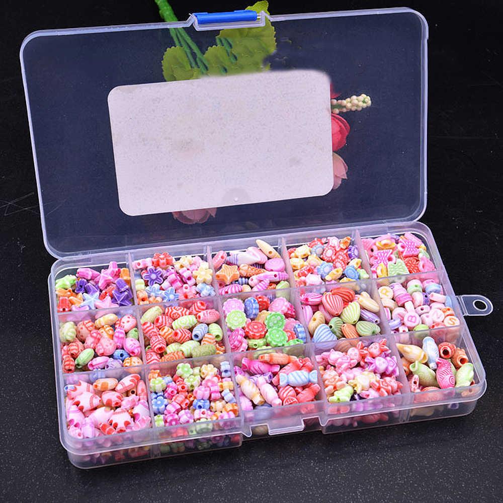 DIY Handgemachte Perlen Spielzeug mit Zubehör Set 15 Grids Bunte Kinder Kreative Perlen Set Frühe Pädagogisches Spielzeug für Mädchen Geschenk