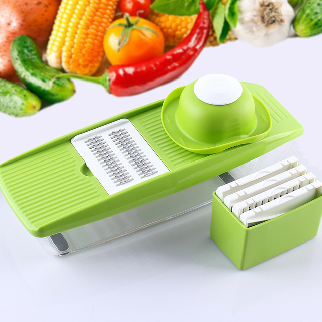 LOHAS Vegetable Cutter 5- Blade Mandoline Slicer with Food Container Onion Slicer Potato Grater Carrot Julienne Kitchen Tool
