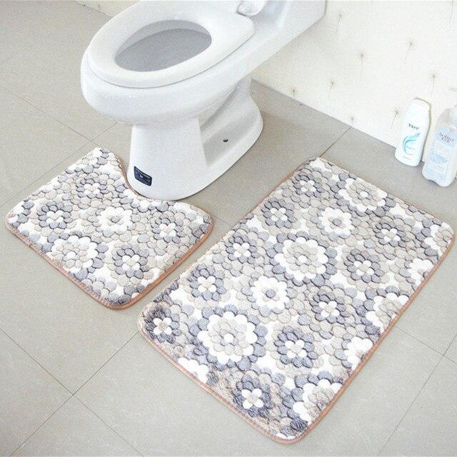 2 pz tappetini da bagno e toilette set antiscivolo 45x50 cm e 50x80 cm/17.71x19.68in e 19.68x31.49in