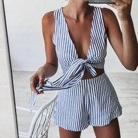 Casual Rayé Combishort Profonde V Cou Réservoir Sexy Body Femmes Shorts Boho Salopette robe D'été Style Arc Station Porter Barboteuse