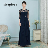 BeryLove Elegant Dark Navy Mother of the Bride Dresses With Sleeves 2018 Long Mother of the Bride Evening Dress For Wedding