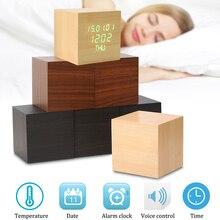 Cubo de madeira de Controle de Alarme de Carro LEVOU Relógio de Mesa Digital De Madeira Estilo de Voz Tempo Data Semana