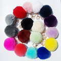 17 Colors 8 CM Genuine Rabbit Fur Ball Key Chain Car Key Ring Bag Pendant Pom Pom Fluffy Key Chains Fur Pompon for Women