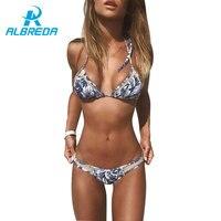 ALBREDA 2017 Sexy Triangle Bikini Set Women Push Up Swimwear Brazilian Bikinis Summer Beach Wear Swimsuit