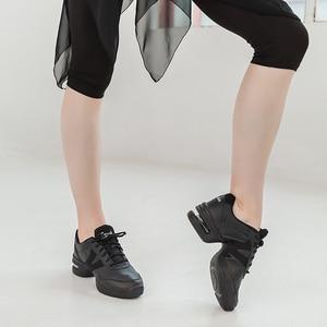Image 4 - Sansha    Genuine Pig Leather Dance Sneakers Black Comfortable Salsa Jazz Air Cushion  Dance Shoes  H166LPI