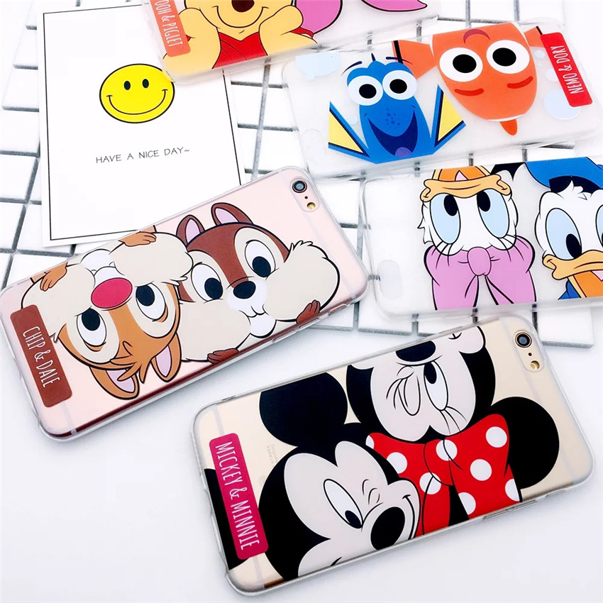 Cute Cartoon Cases Mickey Minnie Donald Duck Pooh Bear Coque Ultra Slim Clear Phone Case Cover For iPhone 7 6S Plus 7Plus Fundas