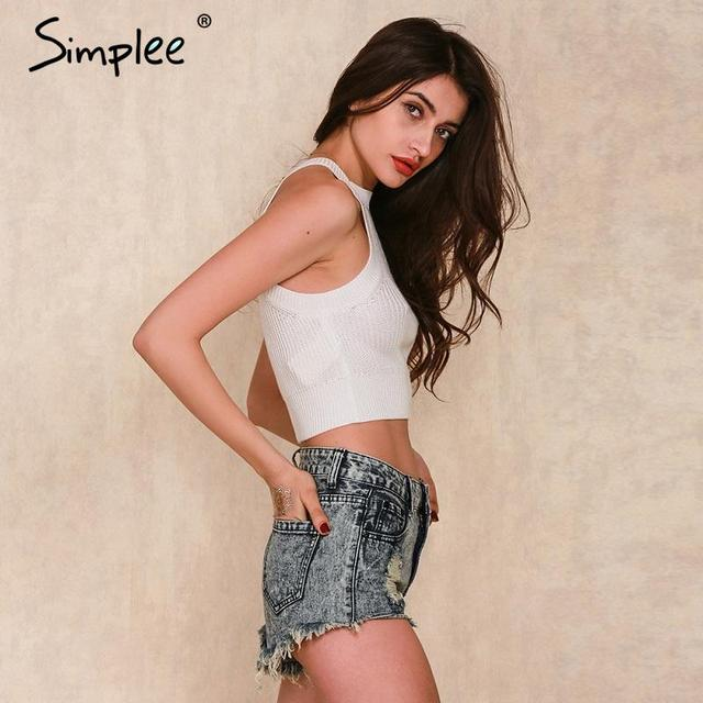 Simplee Apparel Off shoulder knitted bustier crop top Women round neck sleeveless elastic tube tank tops Summer beach sexy camis
