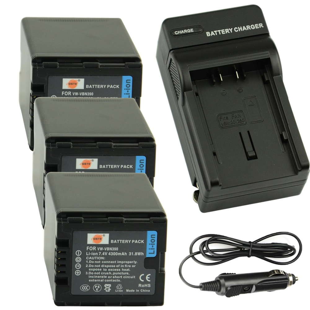 DSTE 3pcs VW-VBN390 Camera Battery + Travel and Car Charger for Panasonic HDC-SD800GK TM900 HS900 SD900