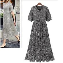New Plus Size XL- 4XL Women Vestidos 2019 Summer Pleated Printed Dresses V-Neck Female Robe
