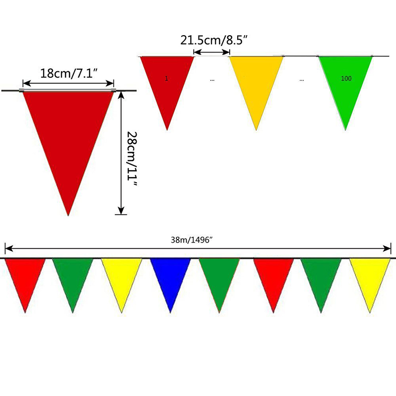 coceca 300pcs colorful flag pennants multi color pennant banner
