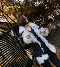 Arlenesain custom 2018 winter new lamb sheep fur fashion coat fur one short fur female coat motorcycle model