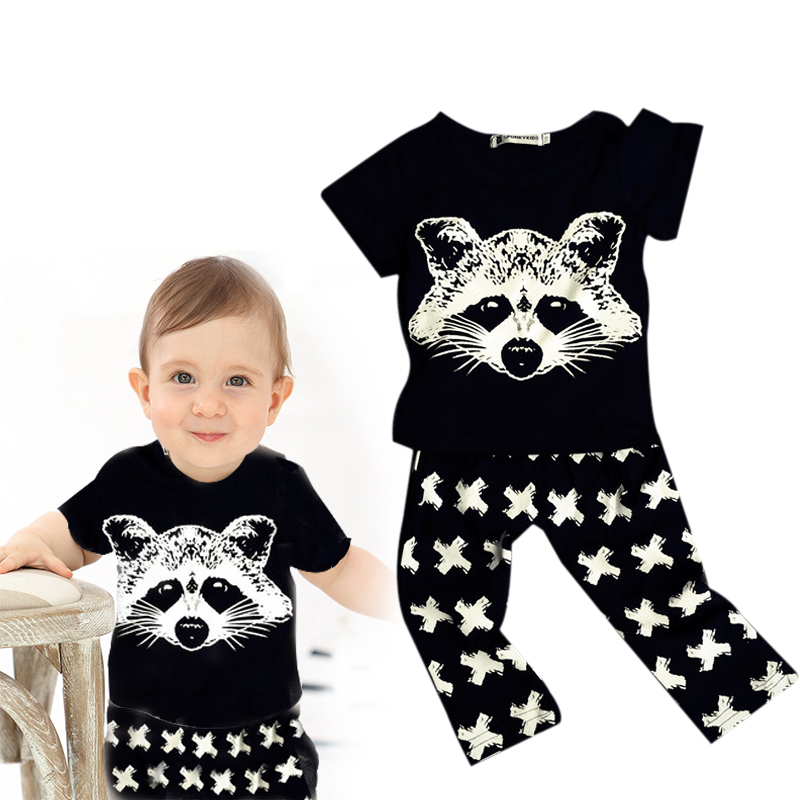 Fox Cotton Baby Clothing Sets Summer Newborn Toddler Short Sleeve Outfits Costume Casual Baby Clothes BodySuit T-shirt Pants