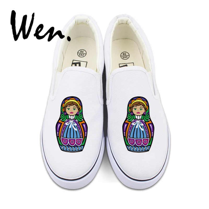 74bfcbd41 ... Вэнь оригинальный для мужчин женщин слипоны обувь дизайн 2 цвета красочные  России Матрешка Белый Черный Холст ...