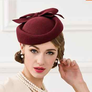 Women Fedoras Wool Hat New Female Nobles Hat Women Wool Vintage Cap Small British Banquet Cap - DISCOUNT ITEM  50% OFF Apparel Accessories