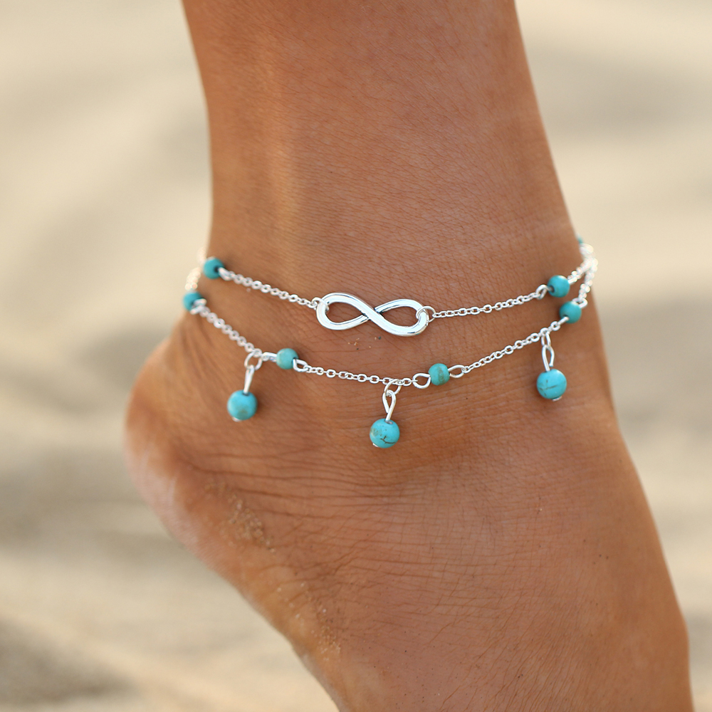 Trendy Double layers beads Pendant number anklet for  2 Colors Foot Link Chain female Beach Elegant  Bijoux 1