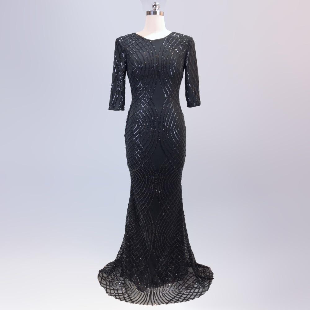 Kadın Giyim'ten Elbiseler'de Zarif Sequins Elbise Kadın Vestidos Verano Yarım Kollu O boyun Uzun Ince Robe Femme ete Resmi Lüks Mavi Glitter'da  Grup 3