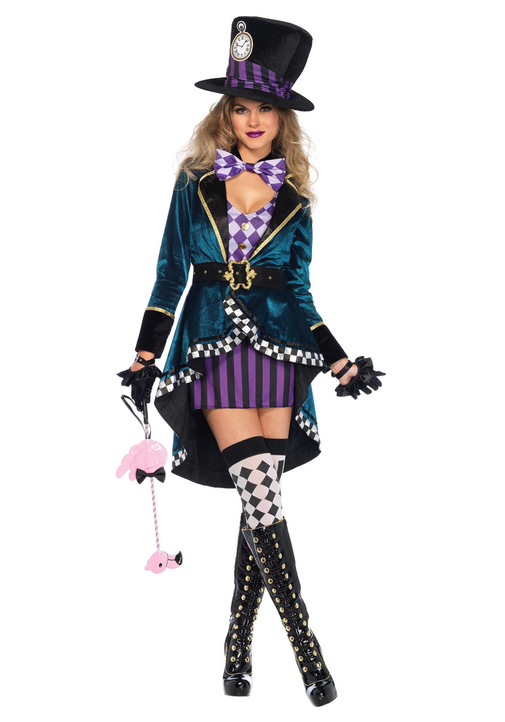 Adult Alice In Wonderland Mad Hatter Costume for Women Halloween Witch Dress Sexy Magician Costume Magic Show Wear