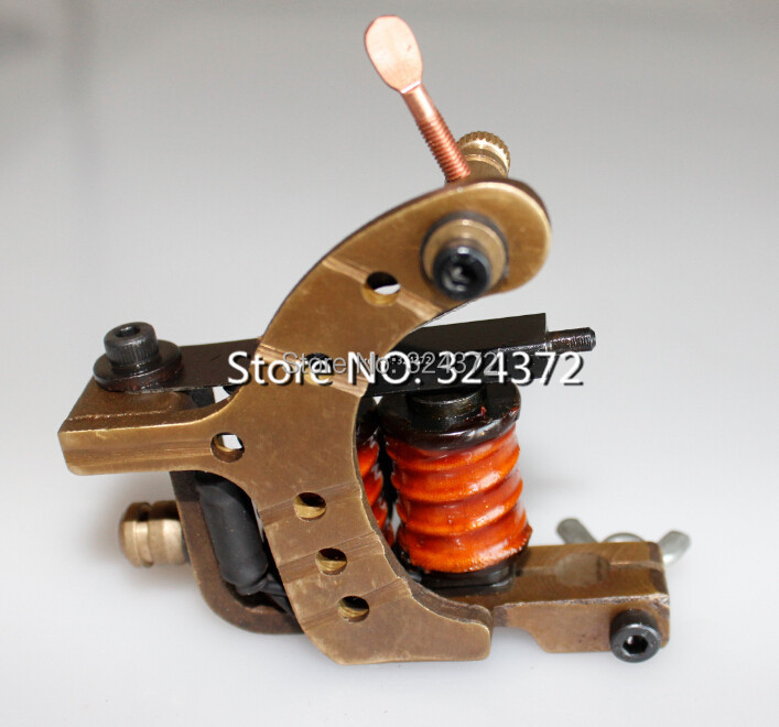 ФОТО Professional brass wire 8 wraps liner manual handmade Cast brass frame Tattoo Machine Gun