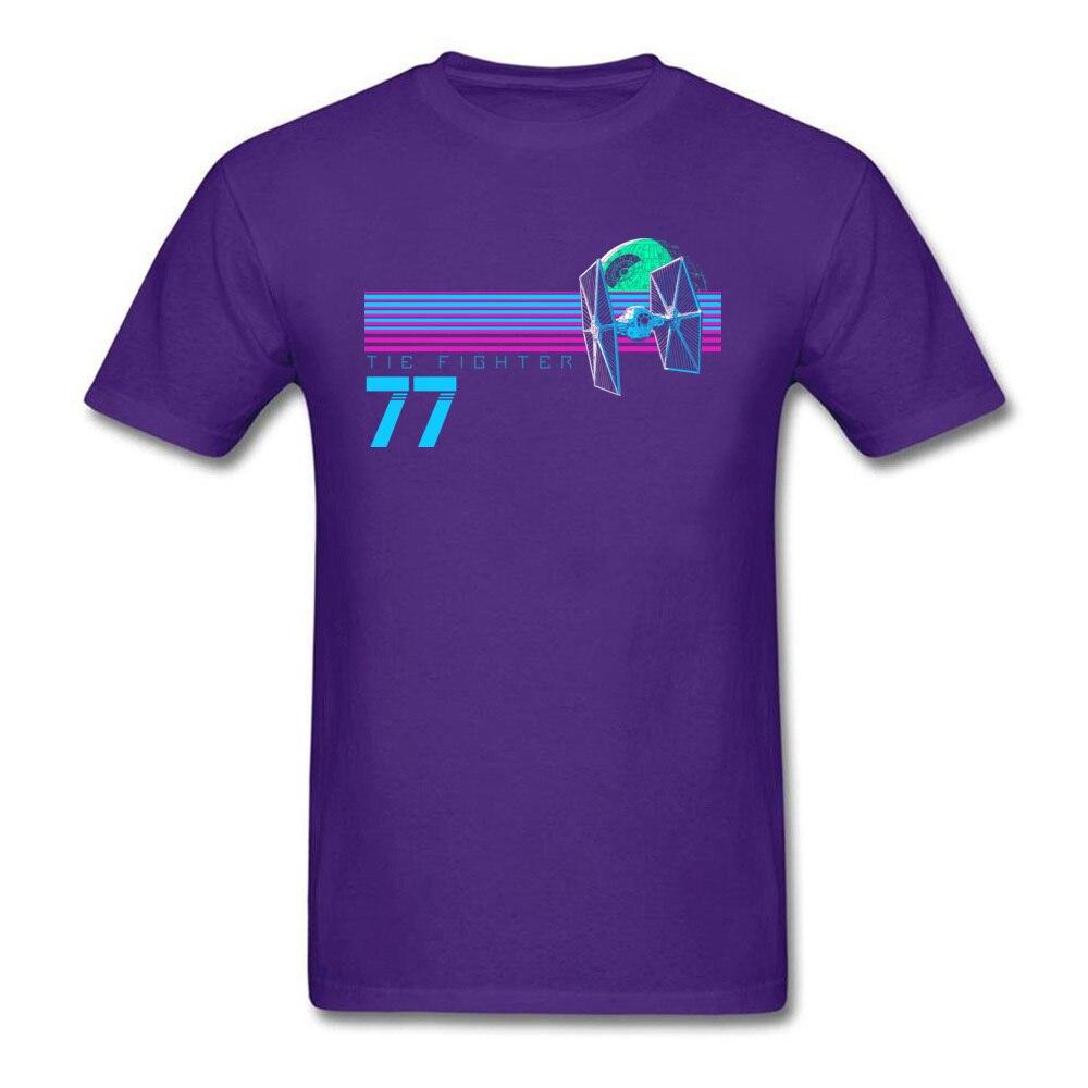 Прочный Шарм Звездные войны Спортивная футболка Tie Fighter And Death Star Футболка мужская хип хоп 80 s футболка с изображением неоновой черной одежды - Цвет: Purple