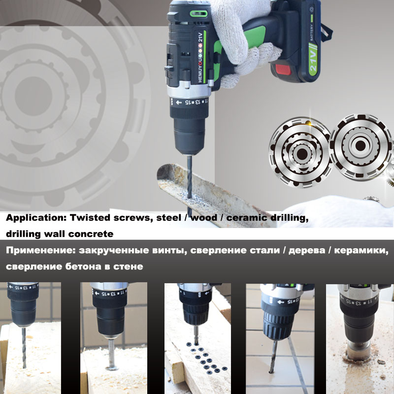 Image 5 - 21V Power Tools Rechargeable Lithium Battery*2 Mini Cordless Electric Drill Multifunction Electric Screwdriver 2 Speed +12 Drill-in Electric Drills from Tools