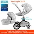 Hete Moeder Kinderwagen 3 in 1 vervoer met wieg 360 ° Rotatie Functie, Luxe Kinderwagen met Gratis Geschenken
