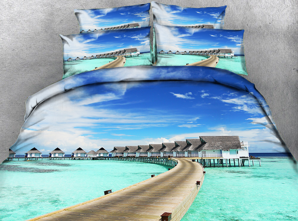 Bridge stretched over the sea under blue sky 3d effect photo bed linen can be customized ...