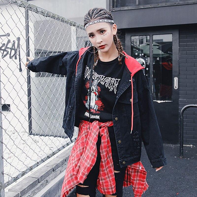 BONU New Letter embroidery Jean Jackets Unisex Loose Denim Jacket Boy Friend Harajuku Oversize Female Hip Hop Basic Coats 5