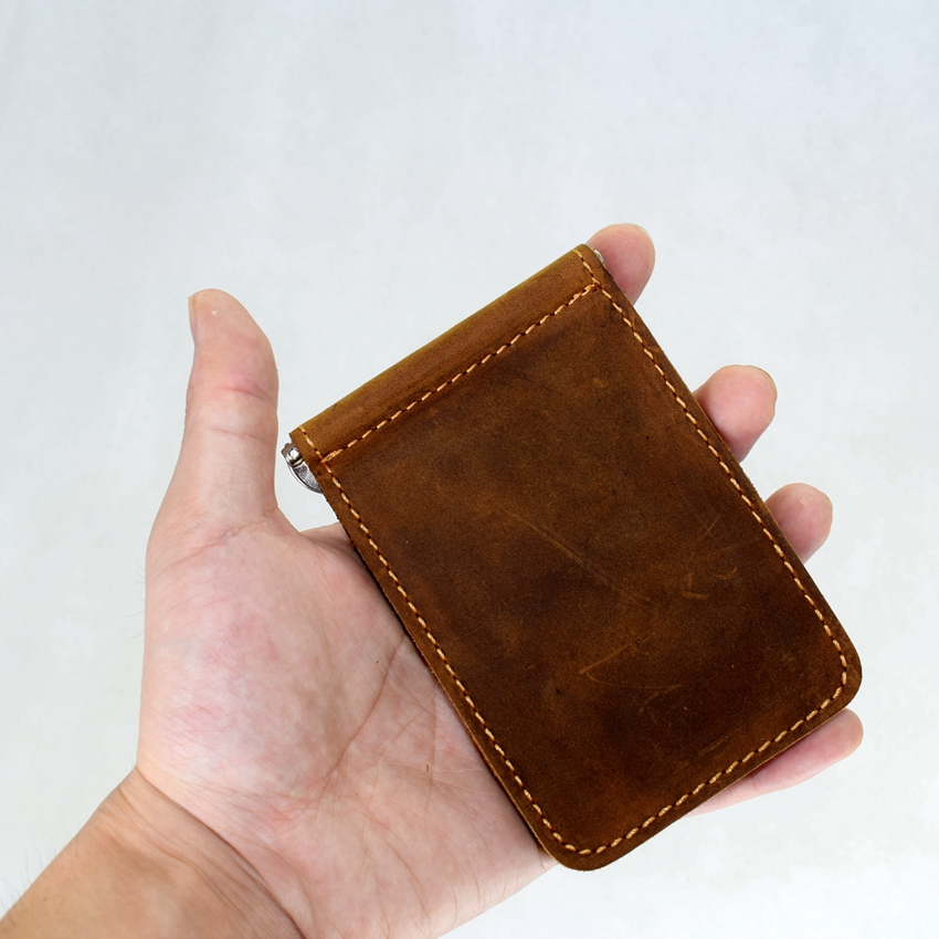 com a braçadeira de metal Leather Men Wallet : Crazy Horse Leather Men Wallet