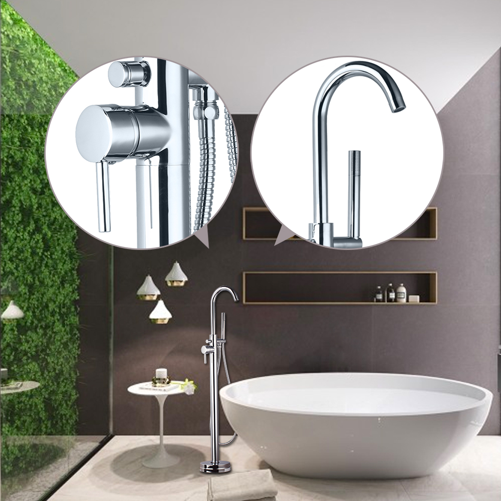 Bathroom and shower accessories - Us Luxury Brass Chrome Polished Bathroom Shower Set Faucet Hand Shower Floor Mounted Bathtub Faucet Hot Cold Mixer Tap
