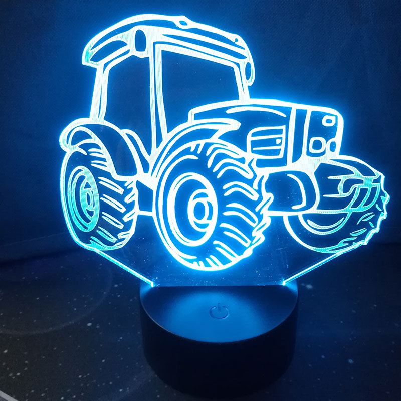 3D Tractor Table Lamp Bedroom Touch Night Light 7 Color Change Gifts Home Decoration Christmas Gift