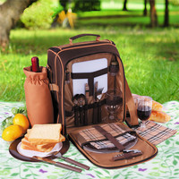 picnic bag new Portable brown 2 people outdoor travelset with tableware cookware lunch bag wine bag handle bag oxford