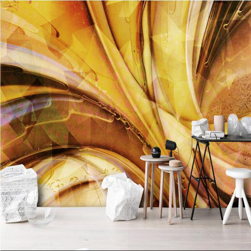 Contemporary Wallpaper Gold Wallpaper Abstract Space Restaurant Wall Paper 3d Wall Murals for Living Room Modern Home Decor Idea цена