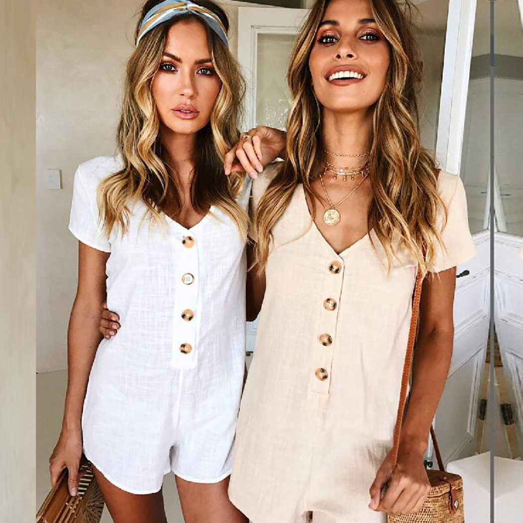 Women Rompers Solid Button   Jumpsuit   Summer Short Overalls   Jumpsuit   Female Bodysuit Chest Wrapped Short Sleeves Playsuit F1