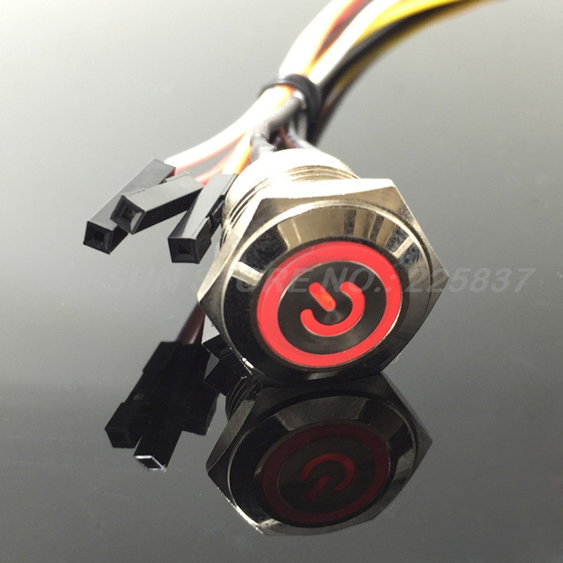 цена на 3pc waterproof white red LED 5v 16mm power symbol metal momentary push button start switch computer motherboard w/ 50cm wire
