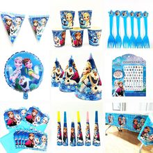 Disney Frozen Princess Anna Elsa children birthday gift frozen wall sticker blowout spoons gift bags balloon happy birthday(China)