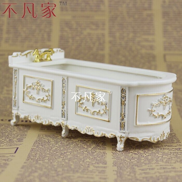 Dollhouses 1:12scale Special Offer Miniature Furniture Paint In Gold Bathtub
