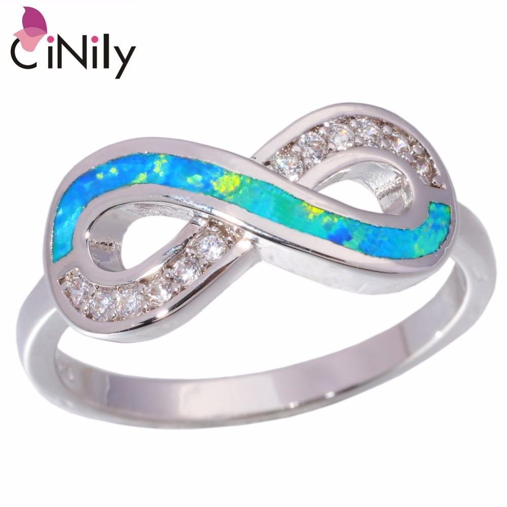 Cinily Ring Wholesale Jewelry Fire-Opal Silver-Plated Blue Cubic-Zirconia Women Retail